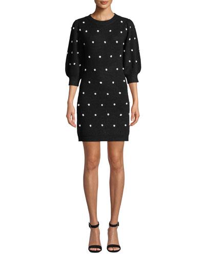 3/4-Sleeve Pearly Dot Sweater Mini Dress