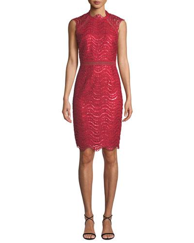 Sequin Scallop Lace Open-Back Midi Dress