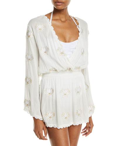 Embroidered Floral Long-Sleeve Coverup Tunic