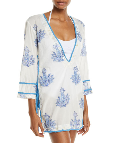Paisley Embroidered Coverup Tunic