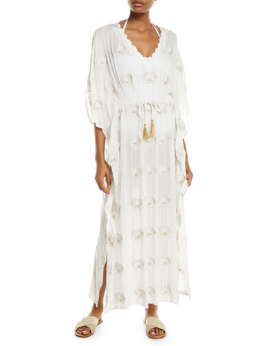 Embroidered Lotus V-Neck Long Caftan