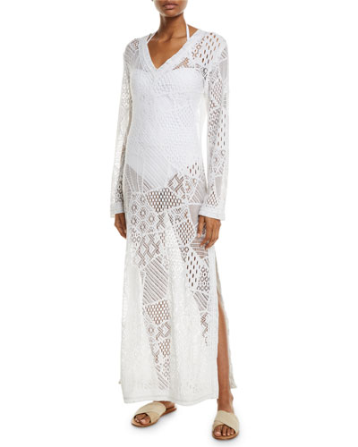 Cascade Lace Long-Sleeve Coverup Dress