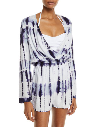 Tie-Dye Long-Sleeve Coverup Romper