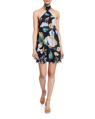 Queens Floral-Print Halter Short Dress