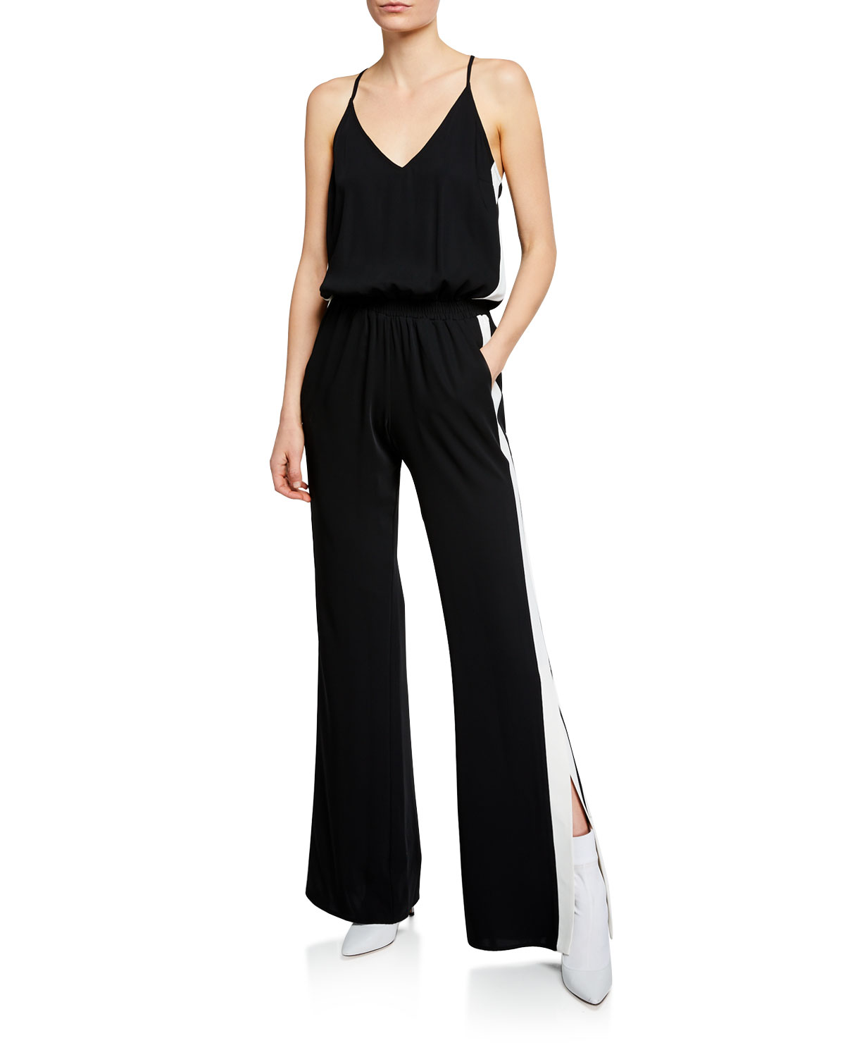 413b8c996963 Amanda Uprichard Side-Stripe Sleeveless Track Jumpsuit