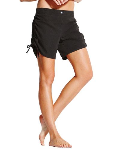 Ruched Drawstring Board Shorts