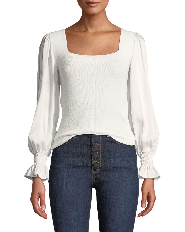 1e0bc5eae9 Rebecca Taylor Silk-Sleeve Merino Pullover Sweater