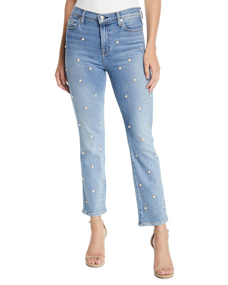 7 for all mankind Edie Straight-Leg Pearl Cropped