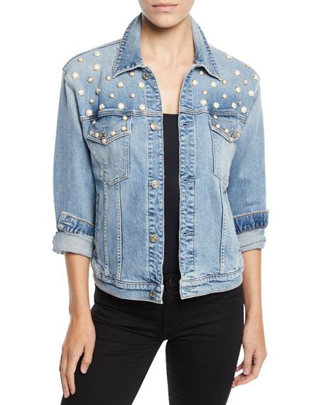 7 FOR ALL MANKIND Pearl-Embellished Boyfriend Trucker Denim Jacket in Light Blue