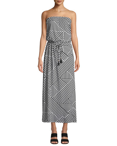 Fractured Stripe Bandeau Maxi Dress
