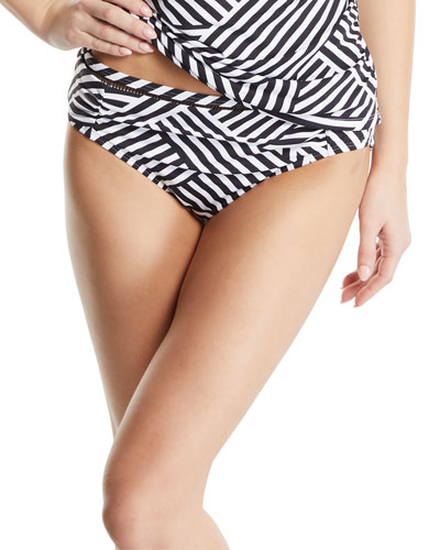 99ab130fb61ee Tommy Bahama Fractured Stripe Shirred Hipster Bikini Bottoms