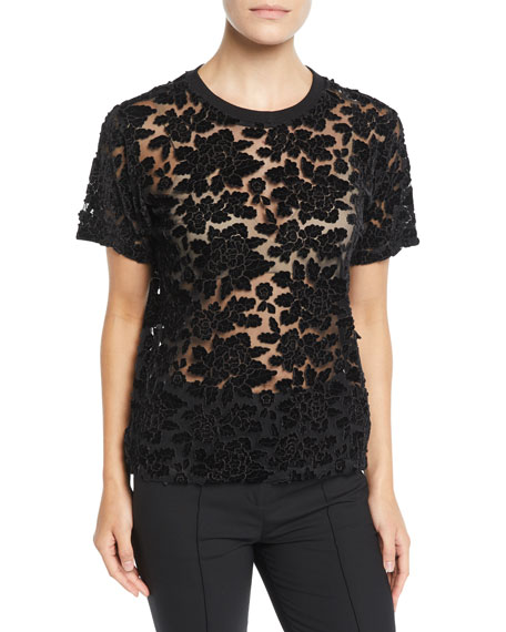 7 FOR ALL MANKIND Easy Velvet Lace Crewneck Top in Black Pattern