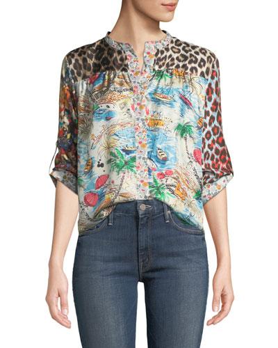 Graphic-Print Mandarin-Collar Silk Blouse