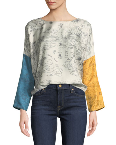Janine Mixed-Print Silk Blouse