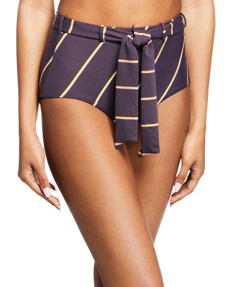 Seafolly Bikinis Amulet Striped Tie-Front Bikini Bottom