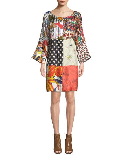 Mila Long-Sleeve Patch Printed Silk Dress