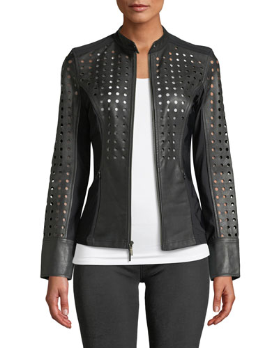 Abigail Perforated Lamb Leather Motorcycle Jacket