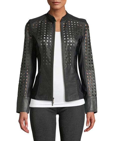 Anatomie Abigail Perforated Lamb Leather Motorcycle Jacket