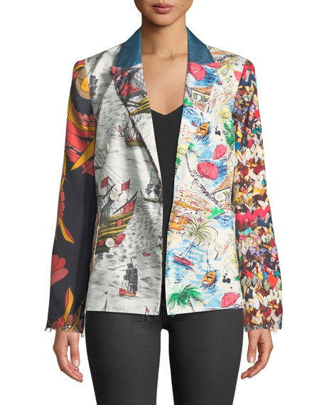 LA PRESTIC OUISTON Tom Sawyer Long-Sleeve Mix-Print Silk Jacket in Mix Navires Rouge