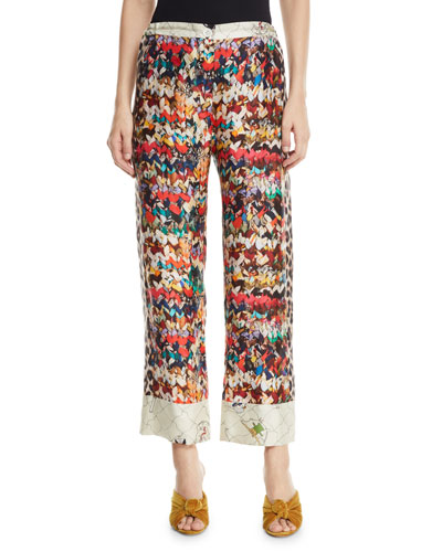 Riviera Butterfly-Print Silk Pants