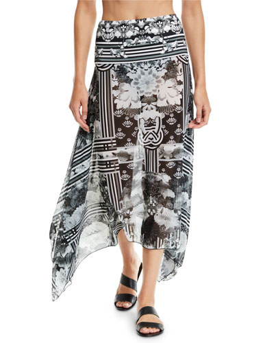 Handkerchief Floral-Printed Mesh Sarong Coverup