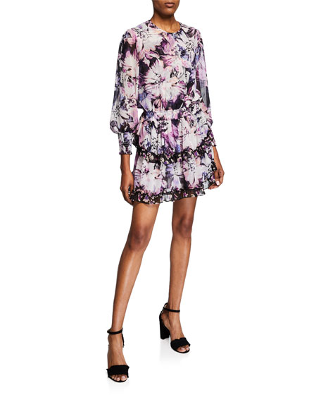 Misa CAMILA FLORAL-PRINT TIERED SHORT DRESS