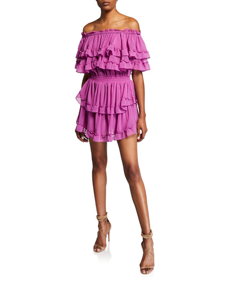 Misa ISELLA OFF-SHOULDER TIERED RUFFLE MINI DRESS