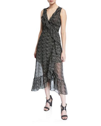 Mari Surplice Dot-Print Sleeveless Ruffle Wrap Dress