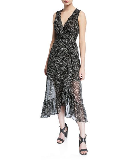 Misa Mari Surplice Dot-Print Sleeveless Ruffle Wrap Dress
