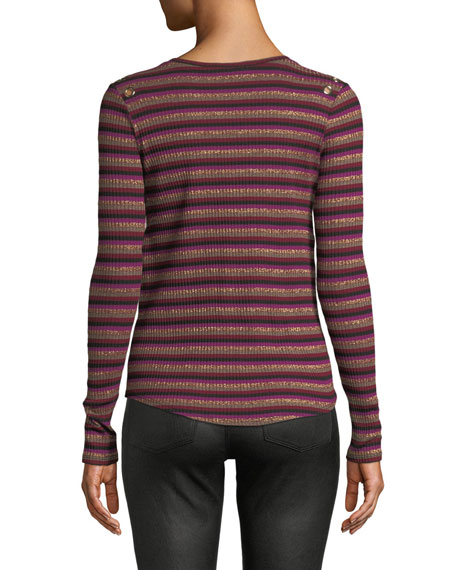 Gilly Striped Metallic Long-Sleeve Top with Eyelet Details