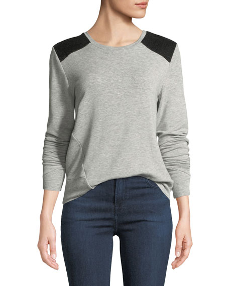 Generation Love Estella Sequin-Shoulder Long-Sleeve Top