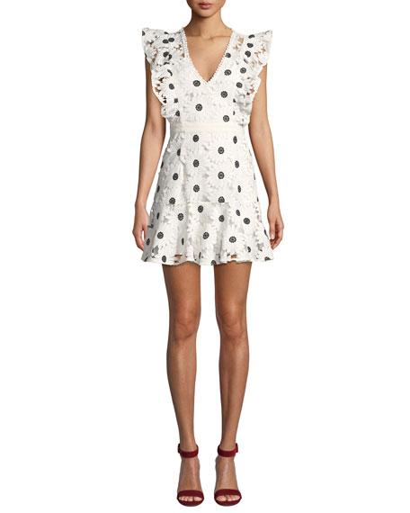 La Maison Talulah The Icon Floral Flounce Mini Dress in White/Black