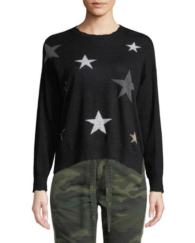 Stars Crewneck Wool-Cashmere Pullover Sweater