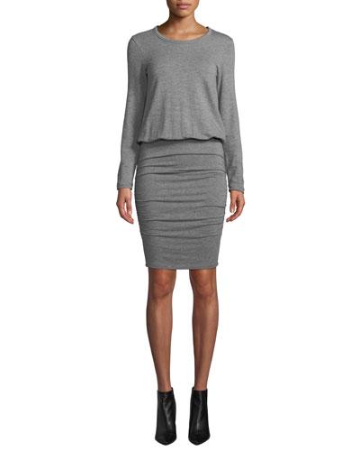 Ruched Long-Sleeve Crewneck Dress