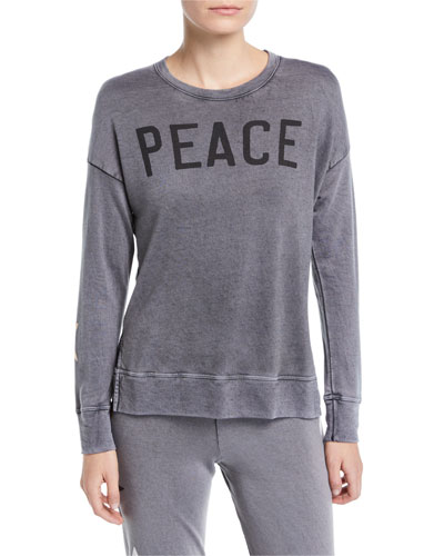 Peace High-Low Crewneck Pullover