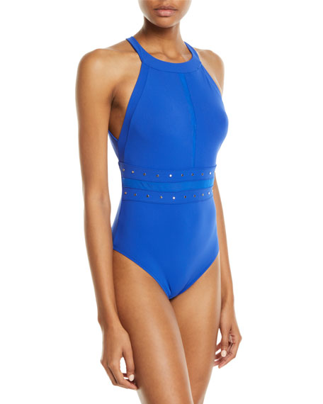 Shan So Sexy Studded High-Neck One-Piece Swimsuit
