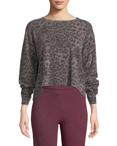 Raw-Edge Boxy Animal-Print Pullover Sweater