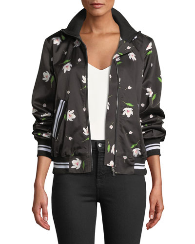 Mock-Neck Floral Print Long-Sleeve Bomber Jacket