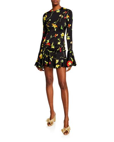 Monique Crewneck Long-Sleeve Floral-Print Mini Dress