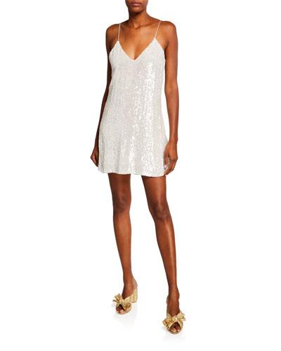 Elena Sequin V-Neck Spaghetti-Strap Mini Slip Dress