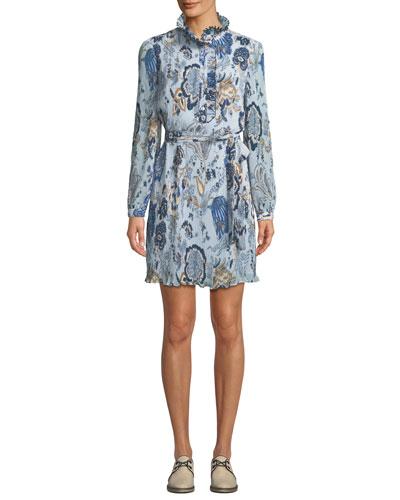 Mel High-Neck Paisley Dress