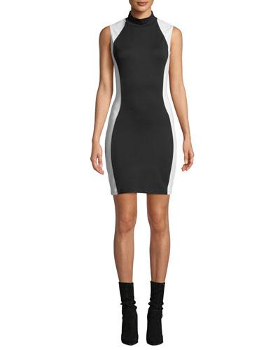 Mock-Neck Bodycon Colorblock Dress