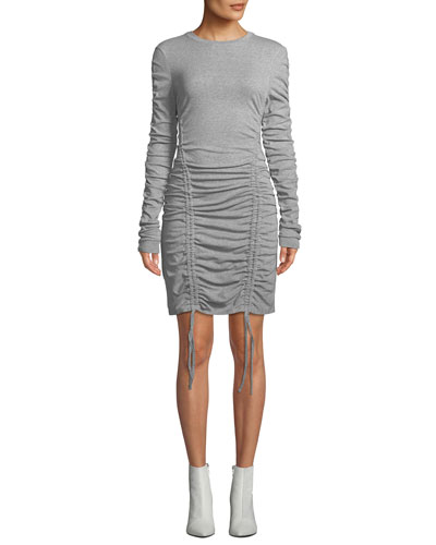 Ruched Crewneck Long-Sleeve Dress