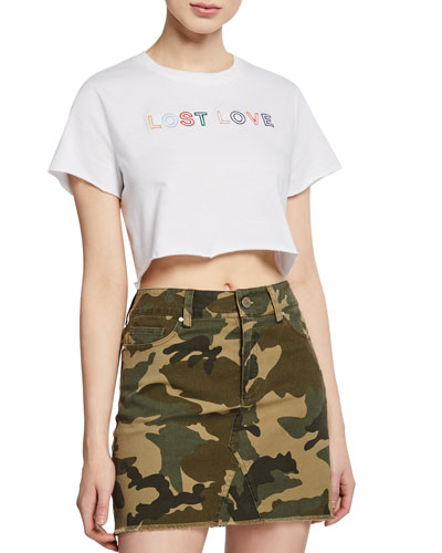 Muse Short-Sleeve Embroidered Crop Tee