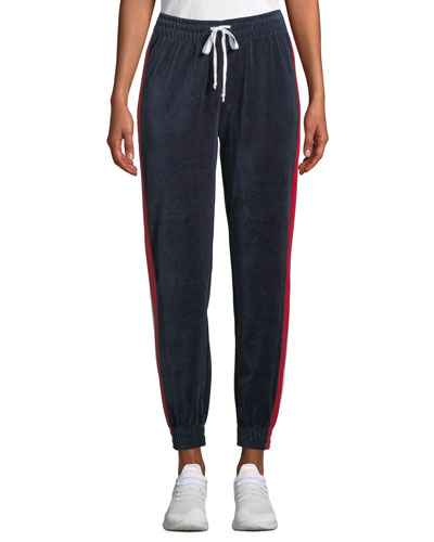 Drawstring Side-Stripe Velour Track Pants