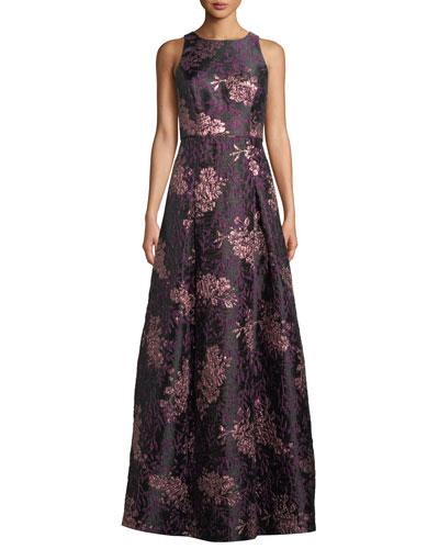 Sleeveless Brocade Ball Gown