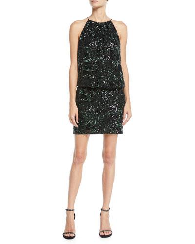 Beaded Blouson Halter Mini Dress