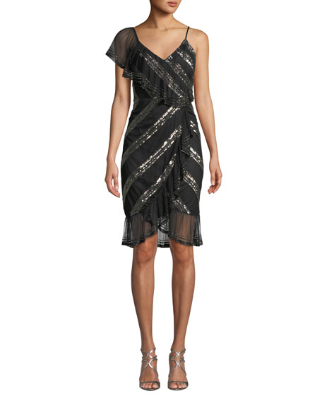 Aidan Mattox Sequin-Striped Asymmetric Dress