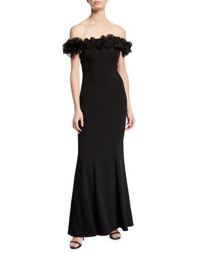 Organza Rose Off-the-Shoulder Gown