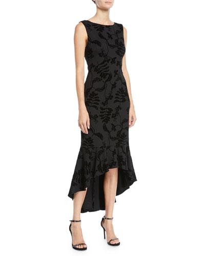 High-Low Flocked Midi Dress